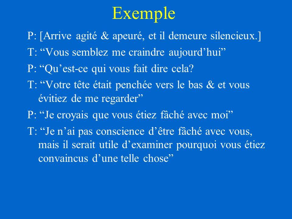 Exemple P: [Arrive agité & apeuré, et il demeure silencieux.]